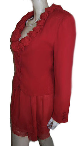 BEAUTIFUL PERRY WHITE CHIFFON TIERED SKORT SUIT ADORNED WITH CHIFFON ROSES IN RED HOT RED