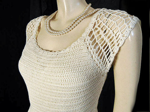 BEAUTIFUL HANDKNIT SPRING & SUMMER IVORY DRESS WITH SUEDE BELT & BELLS