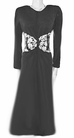 NEW WITH TAG  - DIAMOND TEA QUALITY - GLAMOROUS '30s STARLET LOOK RAZA BLACK & SILVER EMBROIDERED FLORAL DRESSING GOWN ROBE ADORNED WITH A HUGE SATIN TRIMMED BOW