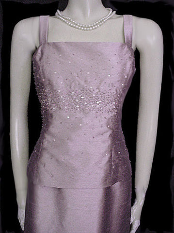 ALEX EVENINGS SPARKLING BEADED & SEQUIN EVENING GOWN WITH MATCHING JACKET IN ANGELFACE