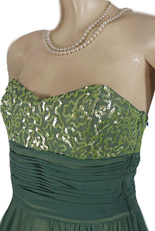 BEAUTIFUL BETSEY JOHNSON EVENING GRAND SWEEP SILK CHIFFON PARTY DRESS  ENCRUSTED WITH SPARKLING SEQUINS IN MERMAID