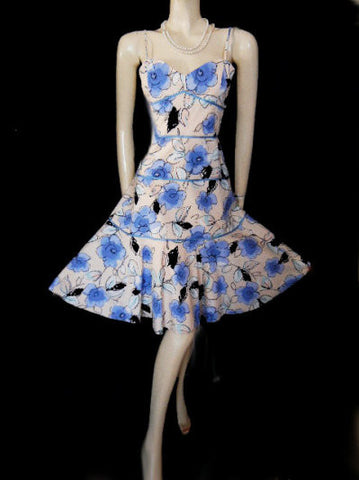 LOVELY PHILLIP DICAPRIO COTTON & LYCRA PERIWINKLE & PEACH FLORAL DRESS - NEW WITH TAG