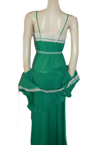 VINTAGE CHRISTIAN DIOR LACEY PLEATED PEIGNOIR BED JACKET & NIGHTGOWN SET IN DYNASTY