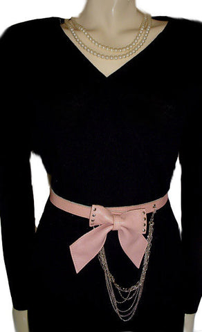 FROM MY OWN PERSONAL COLLECTION - VERY FEMININE PINK LEATHER BOW & SILVER CHAIN BELT - NEW