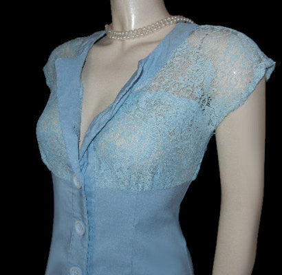 CUTE RETRO LOOK BETTIE PAGE 2-TONE BLUE LACE & SPANDEX WIGGLE DRESS - SIZE LARGE