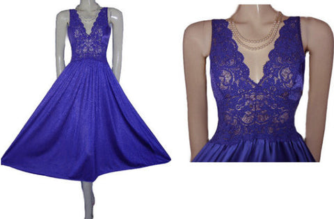 OLGA-LOOK SPANDEX LACE NIGHTGOWN IN A FABULOUS RARE JEWEL TONE SHADE OF ALPINE VIOLET