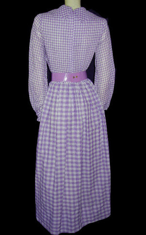 VINTAGE PURPLE & WHITE CHECKED LACE-UP CORSET CUMMERBUND DRESS