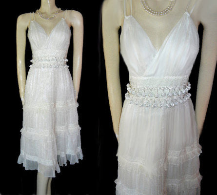 WD NY WHITE & CREAM SILK RUFFLE DRESS ADORNED WITH 64 CORD-COVERED BALLS & LACE TRIM