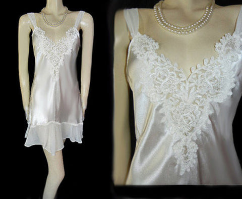 ALEXANDRA NICOLE BRIDAL TROUSSEAU SATIN BIAS-CUT NIGHTGOWN WITH A CHIFFON FLOUNCE STUDDED WITH SEQUINS & PEARLS