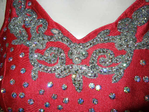 GORGEOUS VINTAGE GLAMOUR GIRL BRILLIANTLY SPARKLING RHINESTONE ENCRUSTED SWIMSUIT IN SCARLET PAGEANT SWIMSUIT - PERFECT FOR VIVA LAS VEGAS