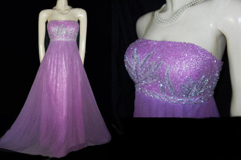 GORGEOUS CAMILLE LA VIE SILVER SEQUINS & METALLIC THREAD BEADED EMPIRE-STYLE EVENING GOWN IN JUNGLE ORCHID