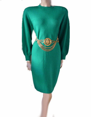 BEAUTIFUL VINTAGE ST. JOHN BY MARIE GRAY SANTANA KNIT DRESS IN JADEITE