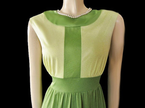 VINTAGE VANITY FAIR ANTRON NYLON NIGHTGOWN IN LEMON LIME WITH A BEAUTIFUL OPEN BACK