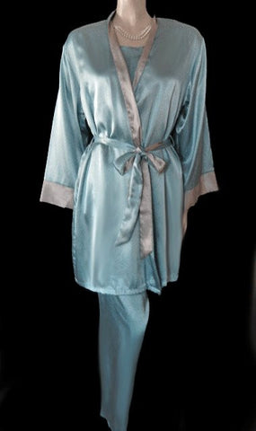 GORGEOUS HALSTON 3-PIECE SATIN PEIGNOIR & PAJAMA SET IN ICY BLUE & TAUPE - SIZE LARGE