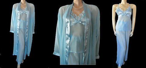 BEAUTIFUL NEW COLLECTIONS, ETC. 3-PIECE SATIN & CHIFFON PEIGNOIR & PAJAMA SET IN SPA - SIZE EXTRA LARGE / XL