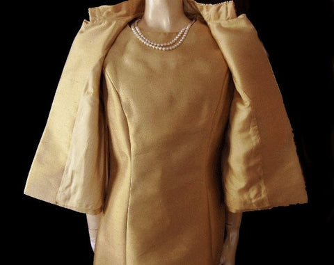 "VINTAGE 60s ""AN ORIGINAL BY PARUES FEINSTEIN"" RHINESTONE,PEARL & SEQUIN COCKTAIL DRESS WITH MATCHING JACKET"