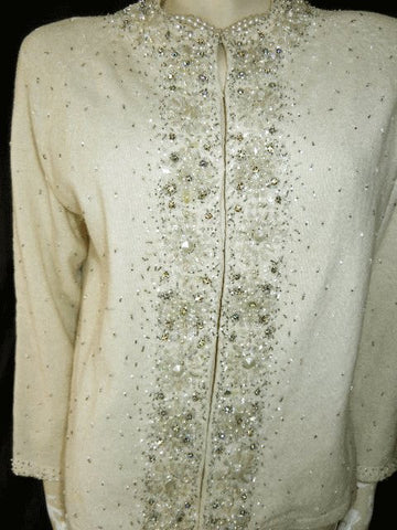 FROM MY OWN PERSONAL COLLECTION - FROM MY OWN PERSONAL COLLECTION - VINTAGE  VALENTINA LTD. RHINESTONE, PEARL & BEADED SWEATER