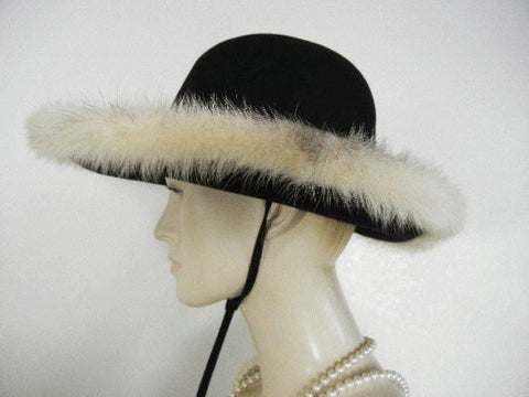 VINTAGE 1960's MR. JOHN JR. MINK TRIMMED BLACK FELT HAT WITH TIE - PERFECT FOR FALL & WINTER