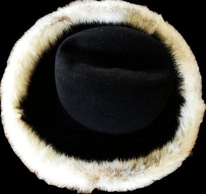 INVISIBLE AT THE MOMENT DEC 2017 - VINTAGE 1960's MR. JOHN JR. MINK TRIMMED BLACK FELT HAT WITH TIE - PERFECT FOR FALL & WINTER