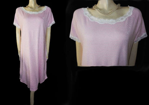 RALPH LAUREN PINK & WHITE STRIPE LACE NIGHTGOWN WITH RALPH LAUREN EMBROIDERED LOGO - SIZE LARGE / EXTRA LARGE