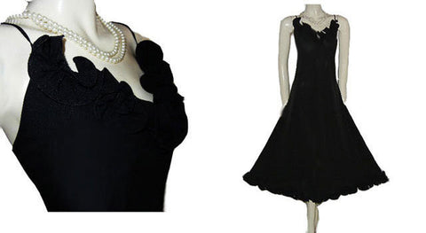 SOPHISTICATED DELICATES SPANDEX BLACK NIGHTGOWN ADORNED WITH RUFFLES - SIZE LARGE