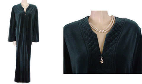 NEW - DIAMOND TEA COTTON / POLY VELVET VELOUR ROBE WITH ZIP UP FRONT & QUILTED TRIM IN FRESH PINE