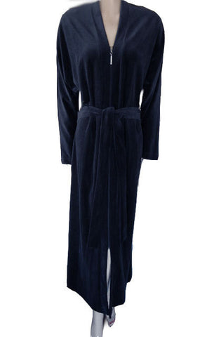 NEW - DIAMOND TEA COTTON/POLY ZIP UP FRONT ROBE WITH ATTACHED TIES IN NIGHTFALL SIZE LARGE