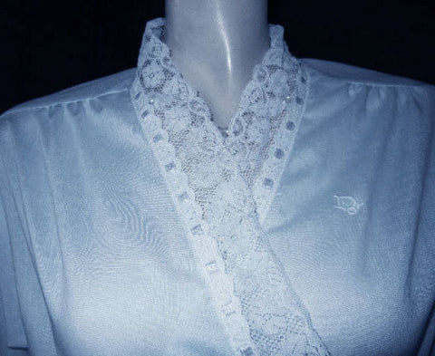 "VINTAGE CHRISTIAN DIOR LOGO BRIDAL TROUSSEAU PEIGNOIR WITH EXQUISITE SATIN RIBBON EYELET & LACE TRIM ADORNED WITH THE ""DIOR"" LOGO"