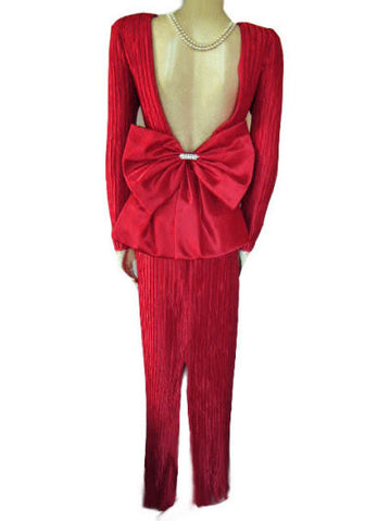 VINTAGE GEORGE F. COUTURE FORTUNY-LOOK PLEATED RED EVENING GOWN ADORNED WITH A HUGE RHINESTONE BOW - PERFECT FOR CHRISTMAS PARTIES, NEW YEAR'S EVE & VALENTINE'S DAY