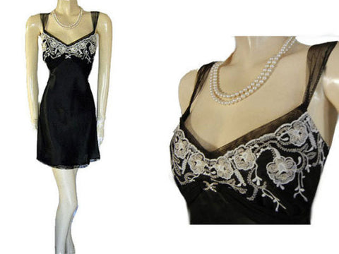 BEAUTIFUL FLORA NIKROOZ BLACK & SILVER EMBROIDERED SATIN NIGHTGOWN  ADORNED WITH A SPARKLING RHINESTONE CLIP- EXTRA LARGE - XL