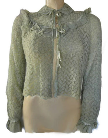 EXQUISITE '30s / '40s ABRAHAM & STRAUS MADE IN ENGLAND CREPE & WOOL SWEATER BED JACKET IN SEA MIST