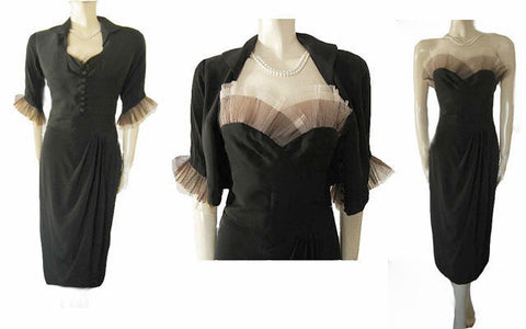 STUNNING VINTAGE '50s SWEETHEART NECKLINE COCKTAIL DRESS & JACKET ADORNED WITH BLACK & CREAM PLEATED TULLE & A METAL ZIPPER