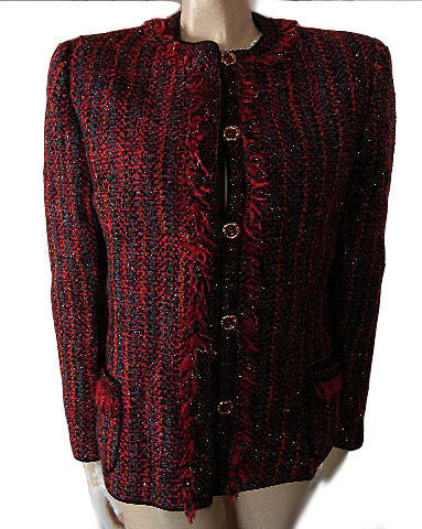 BEAUTIFUL VINTAGE '80S CHRISTIAN RUPERTO SCARLET & MULTI JACKET WITH FRINGE & JEWEL BUTTONS
