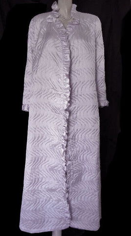 GORGEOUS VINTAGE MARSHA BERGEN FOR COLONIAL FROM LORD & TAYLOR QUILTED ROBE IN SILVER PETUNIA - NEW WITH TAGS