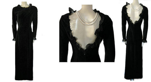 VINTAGE VANITY FAIR VICTORIAN-LOOK BLACK VELVETY DRESSING GOWN WITH PLUNGING LOW LACE TRIMMED BACK