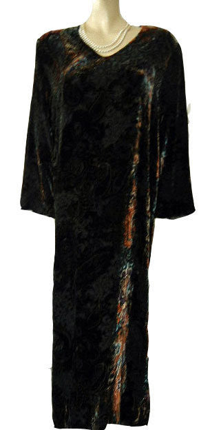 GORGEOUS DIAMOND TEA OLD WORLD EUROPEAN COLORS BURNOUT SILK VELVET DRESSING GOWN