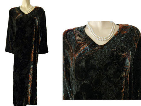 GORGEOUS DIAMOND TEA PRE-OWNED OLD WORLD EUROPEAN COLORS BURNOUT SILK VELVET DRESSING GOWN