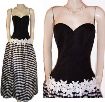 VINTAGE ROBERT-DAVID MORTON SAKS FIFTH BLACK & WHITE SWEETHEART NECKLINE RAW SILK PLAID RHINESTONE & PEARL APPLIQUE EVENING GOWN