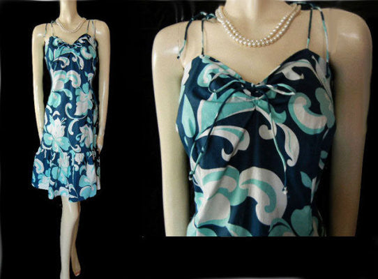 COOL AS A CUCUMBER SUMMER SUNDRESS ADORNED WITH EXOTIC FLOWERS AND LEAVES IN AQUA, WHITE & MISTY NAVY - EXTRA LARGE - XL