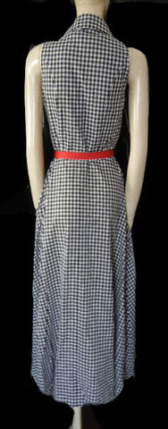 VINTAGE LOOK COLDWATER CREEK BLACK & WHITE CHECKED SWING DRESS WITH SCARLET RIBBON BELT