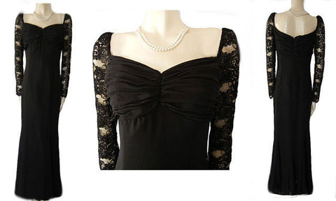 CATERINA COLLECTION CHANTILLY LACE EVENING GOWN EMBELLISHED WITH SPARKLING SEQUINS AND BEADS IN JET BLACK