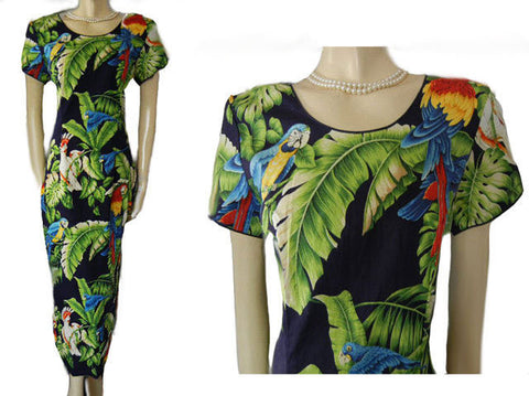 GORGEOUS HAWAIIAN DRESS WITH EXOTIC BIRDS & PALM FRONDS - SIZE LARGE