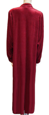 LOVELY DELICATES ZIP UP FRONT VELOUR DRESSING GOWN ROBE ACCENTED WITH  BLACK LEAF & FLORAL DESIGN IN CHERRY CHIP