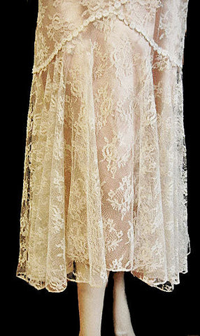 CINDY LYNN BIAS CUT LACE BRIDAL TROUSSEAU COCKTAIL DRESS NEW WITH TAGS - LARGER SIZE