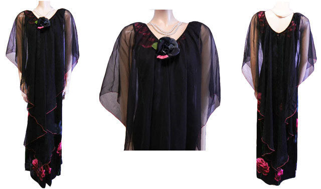 VINTAGE BLACK EVENING DRESS ADORNED WITH LONG STEM ROSES WITH A FLOATING LAYER OF CHIFFON