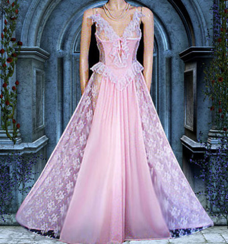"VINTAGE ROMANTIC FAIRYTALE ""TREASURE"" BY FARIS LACE RUFFLE GRAND SWEEP BUSTIER-LOOK NIGHTGOWN IN BREATHTAKING PINK"