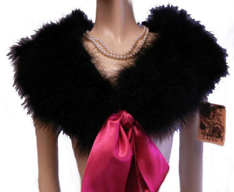 NEW - GORGEOUS LAPIS MARABOU & SATIN STOLE OR BED JACKET IN JET BLACK WITH LONG HOT PINK SATIN TIES - NEW WITH TAG