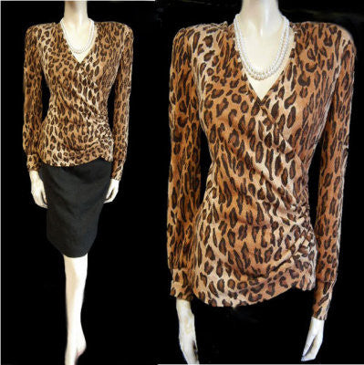 VINTAGE SEXY CHETTA B & PETER NOVIELLO FROM SAKS FIFTH AVENUE LEOPARD SUPLICE TOP