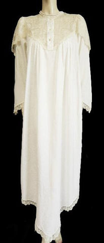 VINTAGE VICTORIAN LOOK SATIN NIGHTGOWN DRIPPING WITH LACE IN VANILLA HONEY