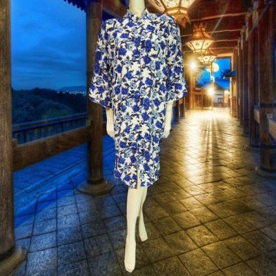 LUSCIOUS MARGUERITE LI BLUE & WHITE FLORAL SILK DRESS